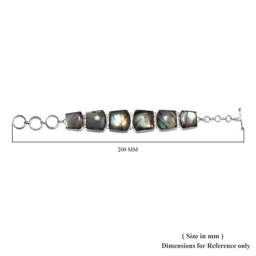 Handmade Labradorite Bracelet (Size 7.5 with Extender) in Sterling Silver 103.86 Ct.