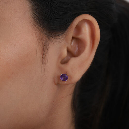 African Amethyst 2 Stone Push Post Earring in Platinum Overlay Sterling Silver 1.00 ct  1.000  Ct.