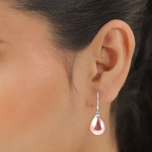 MP Pink Shell Pearl Lever Back Drop Earrings in Rhodium Overlay Sterling Silver