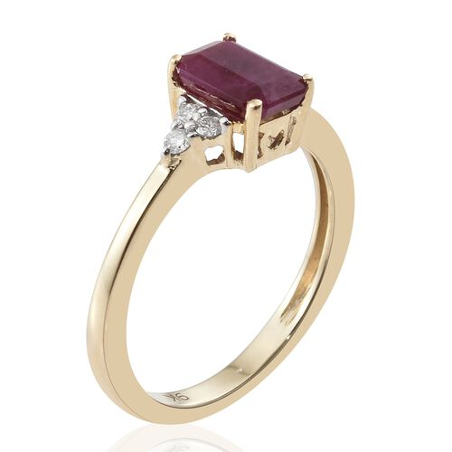 1.25 Ct AA Burmese Ruby and Diamond Ring in 9K Gold