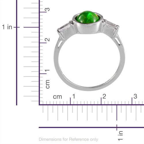 Green Ethiopian Opal (Ovl 1.25 Ct), White Topaz Ring in Platinum Overlay Sterling Silver 1.500 Ct.