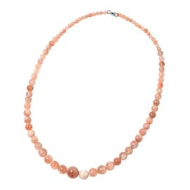 120 Ct Sunstone Beaded Necklace in Rhodium Plated Sterling Silver Size 18 Inch