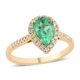 ILIANA 18K Yellow Gold AAA Boyaca Colombian Emerald and Diamond (SI/G-H) Ring 1.25 Ct, Gold wt. 3.49