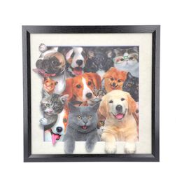 5D Dogs and Cats Painting (Size: 43.5x43.5x4.5 Cm) - White and Multi