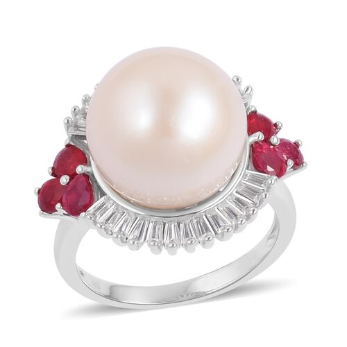 Very Rare Size Edison Pearl (Rnd 14.5-15mm), African Ruby and White Topaz Ring in Rhodium Plated Sterling Silver