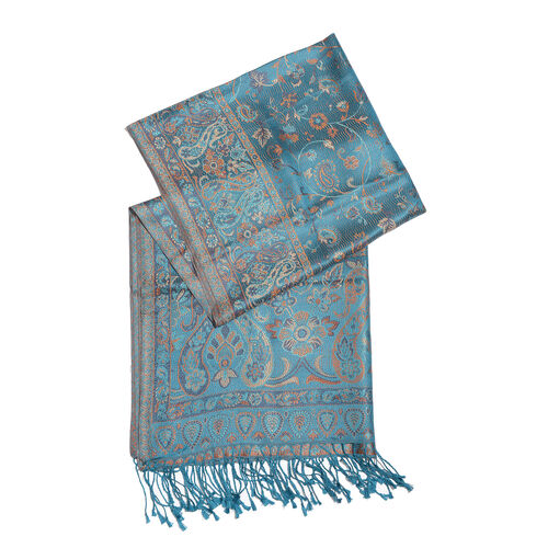 SILK MARK - 100% Superfine Silk Blue, Orange and Multi Colour Paisley and Floral Pattern Reversible Jacquard Jamawar Scarf with Tassels (Size 190X70 Cm)