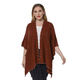 Solid Coffee Colour Ruana Shawl with Pearl Trim (One size fits all; 98x80cm)