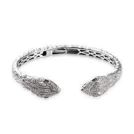 GP Blue and White Diamond (Rnd), Blue Sapphire Snake Head Design Cuff Bangle (Size 7.5) in Platinum