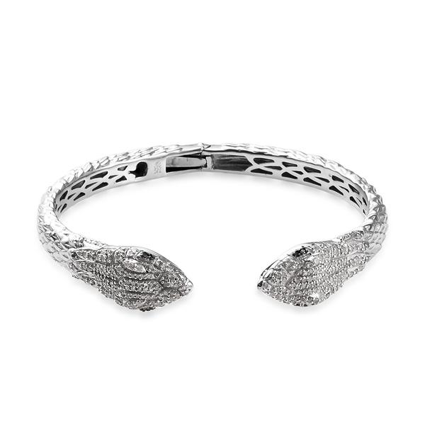 GP Blue and White Diamond (Rnd), Blue Sapphire Snake Head Design Cuff Bangle (Size 7.5) in Platinum