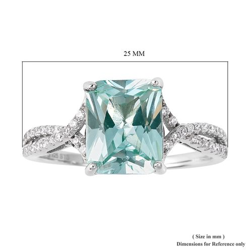 Lustro Stella Simulated Paraiba Tourmaline (Bgt) and Simulated Diamond Ring in Rhodium Overlay Sterling Silver