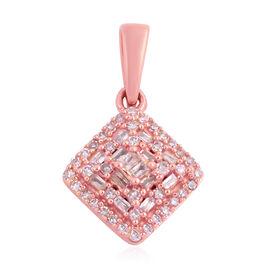 9K Rose Gold Natural Pink Diamond (Rnd and Bgt) Pendant  0.330 Ct.
