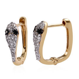 Thai Black Spinel (0.12 Ct),Cambodian Zircon 14K Gold Overlay Sterling Silver Earring  0.750  Ct.