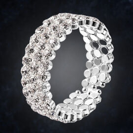 Austrian White Crystal Bangle (Size 6.5) in Silver Tone