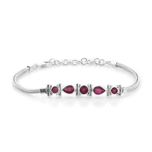 African Ruby Bracelet (Size 7 and 1.5 Inch Extender) in Sterling Silver 3.69  Ct, Silver wt 10.74 Gm