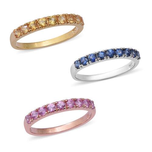 3 Piece Set - Kanchanaburi Blue Sapphire, Madagascar Pink Sapphire and Yellow Sapphire Ring in Rhodi