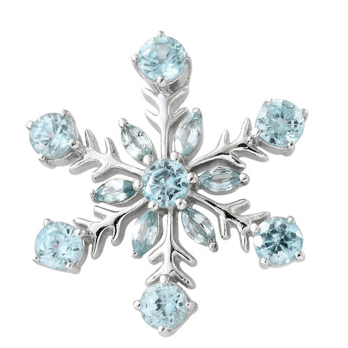 Simulated Blue Topaz (Mrq 3.50 Ct) Snowflake Pendant in Platinum Overlay Sterling Silver