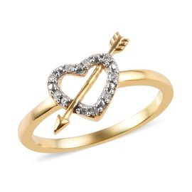 Diamond Heart with Arrow Ring in 14K Gold Overlay Sterling Silver
