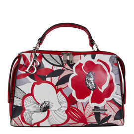 Bulaggi Collection - Avery - Red Floral Shoulder Bag with Adjustable and Removable Strap (30x22x08 c
