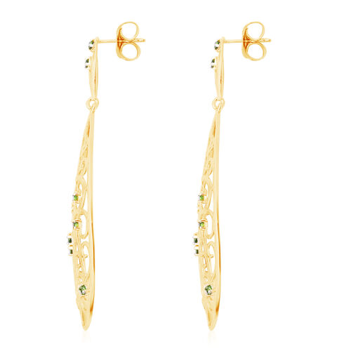 LucyQ Victorian Era Collection - Russian Diopside Drop Earrings (with Push Back) in Yellow Gold Overlay Sterling Silver