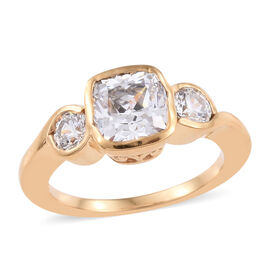 J Francis Made with Swarovski Zirconia Trilogy Ring in Gold Plated Sterling Silver