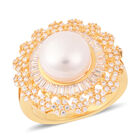 Freshwater White Pearl (Rnd), Simulated Diamond Floral Ring (Size N) in Gold Tone