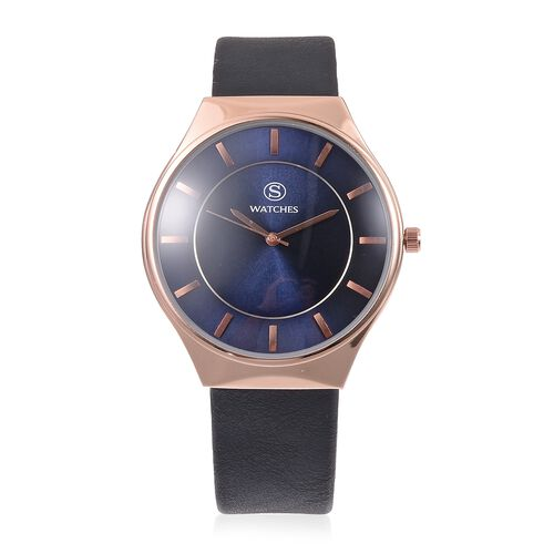 STRADA Japanese Movement Rose Gold Colour Plated Water Resistant Watch with Double Navy Blue Sunshin