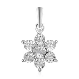 Doorbuster Deal - Diamond Floral Pendant in Platinum Overlay Sterling Silver