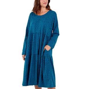 Nova of London Women Leopard Pattern Tiered Midi Dress (Size 8-18) - Blue