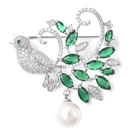 Simulated Emerald, White Shell Pearl and Simulated Diamond Brooch in Silver Tone