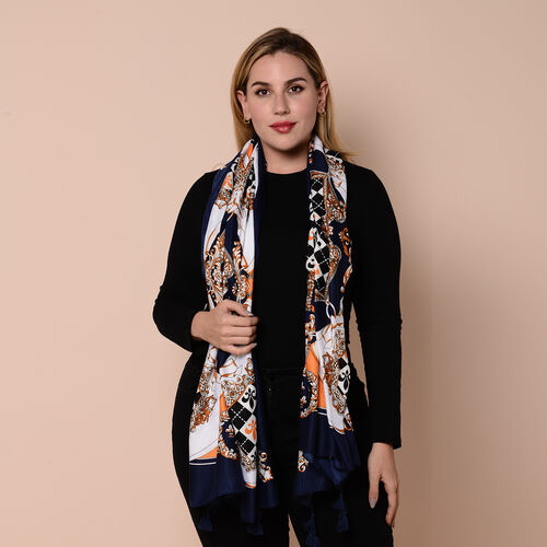 Close Out Fashion Scarf  / Sarong  in Fleur-de-lis Pattern (Size 180x90cm) with Tassels - Navy, White and Orange