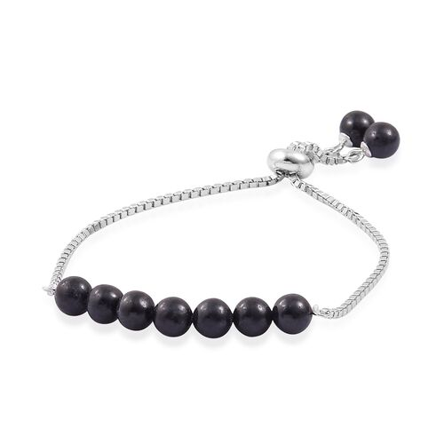 Black Jade Ball Beads Bolo Bracelet (Size 6.5 to 7.5) in Rhodium Plated Sterling Silver 17.040 Ct.