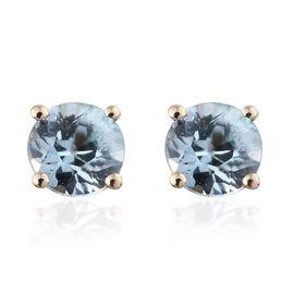 1.25 Ct AA Blue Zircon Solitaire Stud Earrings in 9K Gold
