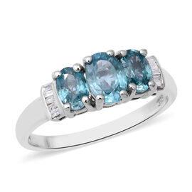 Blue Zircon and Diamond Trilogy Ring in Rhodium Plated Sterling Silver