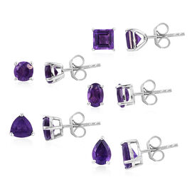 Set of 5 - Amethyst Stud Earrings (with Push Back) in Platinum Overlay Sterling Silver 5.750 Ct.
