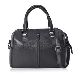 100% Genuine Leather Black Colour Tote Bag with Removable Shoulder Strap (Size 31x14x19 Cm)