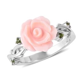Pink Mother of Pearl (2.75 Ct),Russian Diopside Sterling Silver Ring  2.800  Ct.
