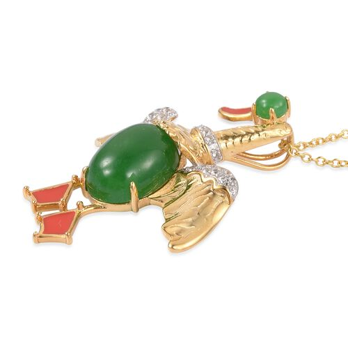 Limited Edition - Designer Inspired Green Jade (Ovl), Natural White Cambodian Zircon Duck Pendant With Chain (Size 18) in Yellow Gold and Rhodium Plated Sterling Silver 7.700 Ct.