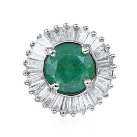 RHAPSODY 1.50 Carat Zambian Emerald and Diamond Halo Pendant in 950 Platinum 2.1 Grams