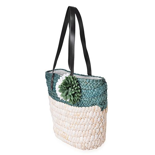 Bali Collection Forest Green Straw Woven Large Tote Bag (Size 41.5x30.5x25.5x13.5 Cm)
