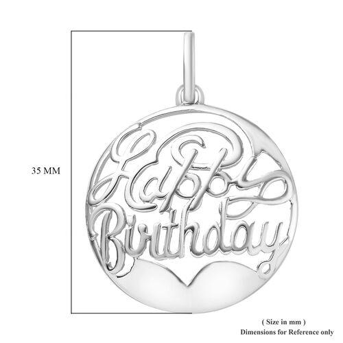Happy Birthday Pendant in Platinum Overlay Sterling Silver