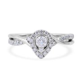 14K White Gold (I1/G-H) Diamond (Rnd) Halo Cluster Ring 0.500 Ct.