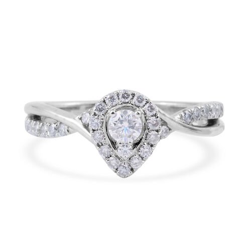 14K White Gold (I1/G-H) Diamond (Rnd) Halo Cluster Ring 0.500 Ct.