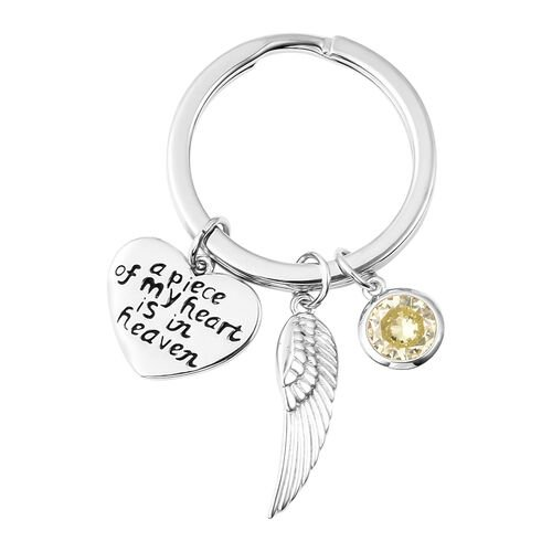 Charms De Memoire Sterling Silver Simulated Peridot, Angel Wing and Heart Charms in Key Chain
