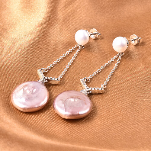 Baroque Pearl and Freshwater Pearl Dangle Earrings in Rhodium Overlay Sterling Silver