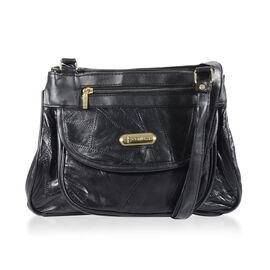 100% Genuine Leather Handbag (Size 21x28x9 Cm) - Black