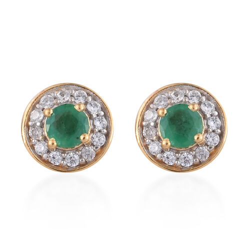 1 Carat Brazilian Emerald and Cambodian Zircon Stud Halo Earrings in Gold Plated Sterling Silver