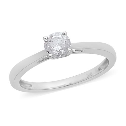 9K White Gold SGL Certified Diamond (Rnd) (I3/G-H) Solitaire Ring 0.500 Ct.