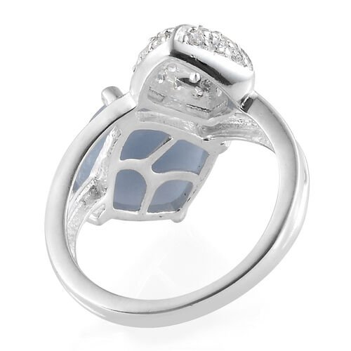 One Time Deal-Mexican Angelite (Cush) Simulated Diamond Ring in Sterling Silver 4.750 Ct.