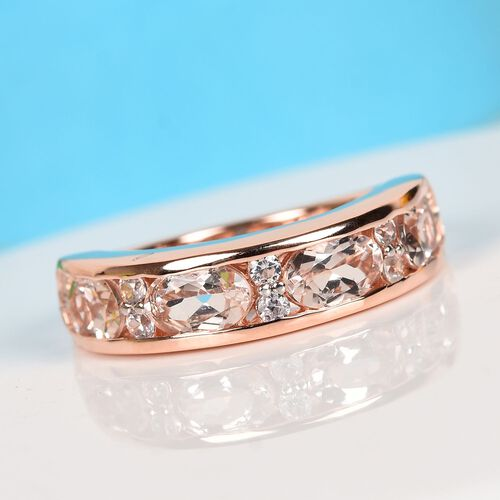 Marropino Morganite and Natural Cambodian Zircon Ring in Rose Gold Overlay Sterling Silver 2.00 Ct.