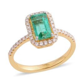 ILIANA 18K Yellow Gold Boyaca Colombian Emerald and Diamond Ring 1.820 Ct.